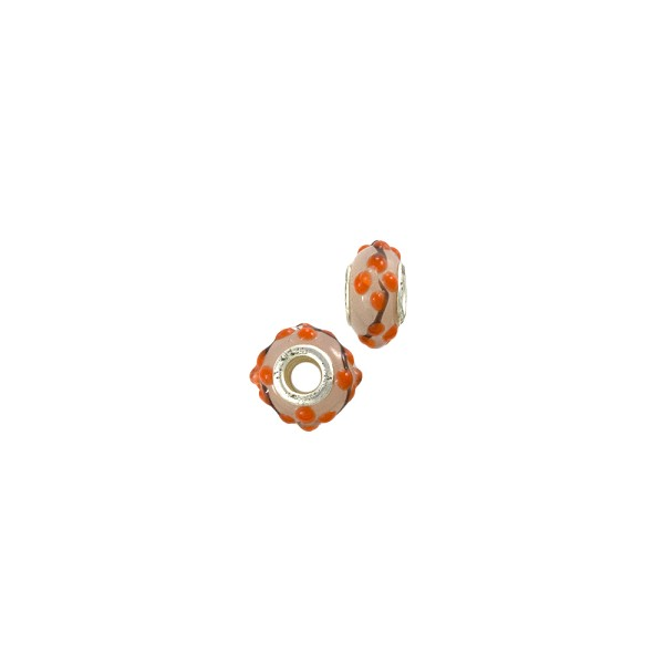 Large Hole Lampwork Glass Bead with Grommet 8x14mm White with Orange Flower (1-Pc)