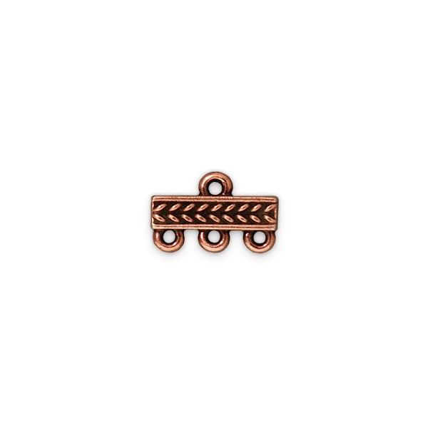 TierraCast 3-Strand Braided Bar Link Pewter Antique Copper 15x4mm (1-Pc)
