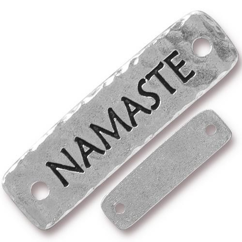 "TierraCast ""Namaste"" Link Pewter Antique Silver Plated 40x11mm (1-Pc)"