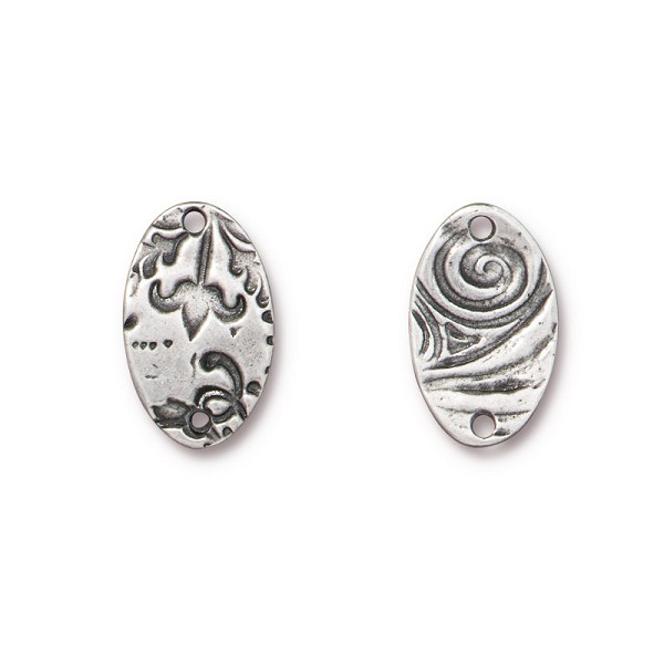 TierraCast Oval Flora Link Pewter Antique Silver Plated 18mm (1-Pc)