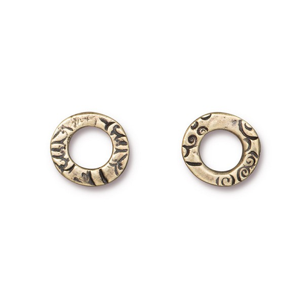 TierraCast Flora Ring Link Pewter Brass Oxide 13mm (1-Pc)