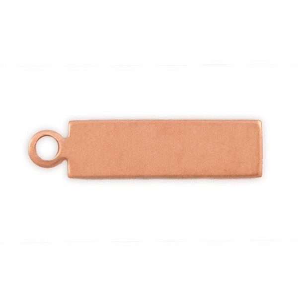 "Copper Rectangle Blank with Ring, 24 ga, 11/16"" x 3/16"""