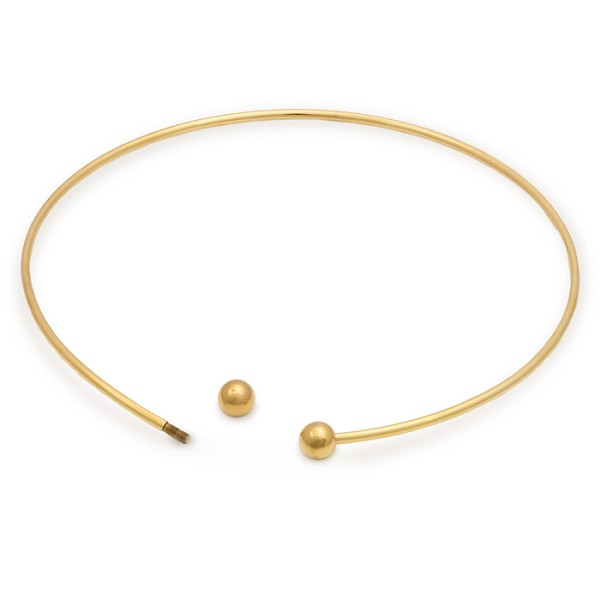 "6"" Gold Plated Large Hole Bead Choker Necklace (1-Pc)"