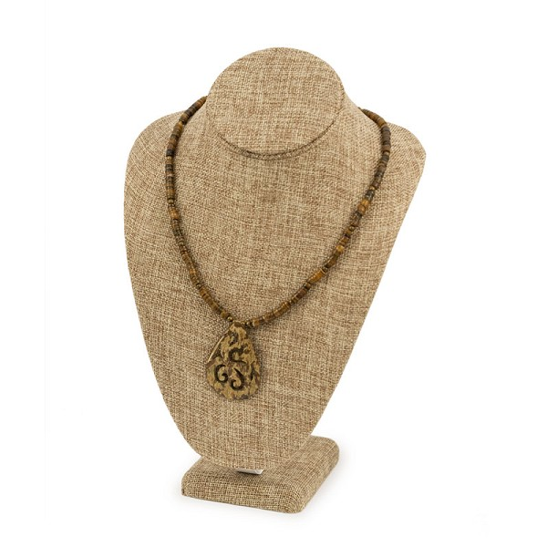 "Necklace Bust Jewelry Display 11"" Tall Burlap"