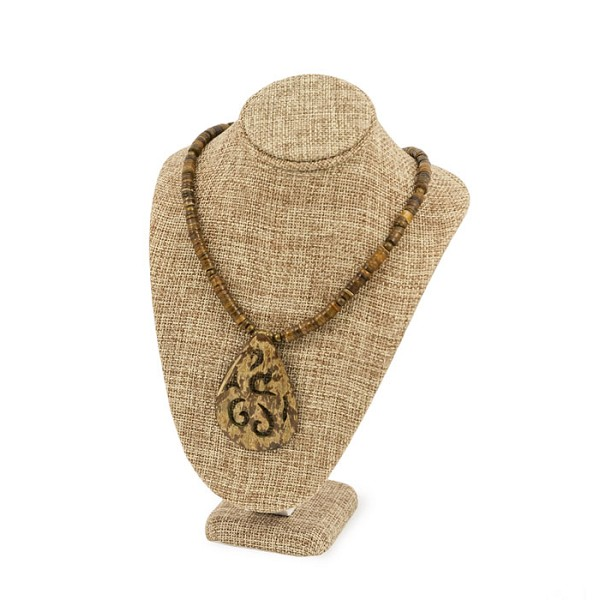 "Necklace Bust Jewelry Display 7-1/2"" Tall Burlap"