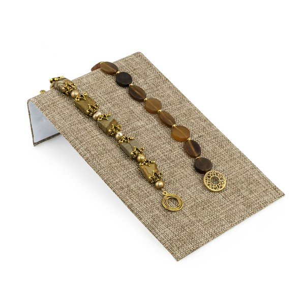 "Jewelry Display Bracelet Ramp Burlap 4-3/4"" Wide"