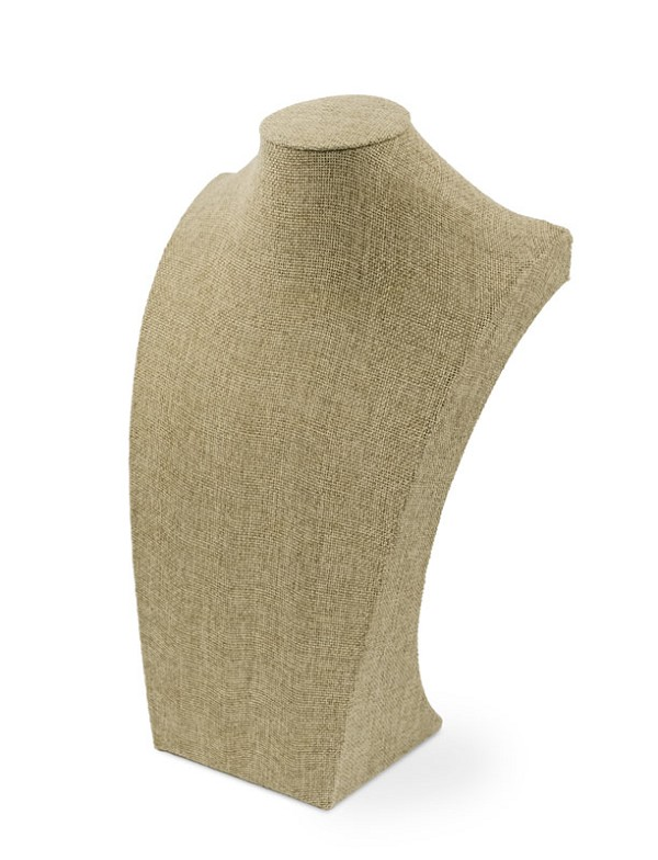 "Burlap Neckform Display 13"" Tall"