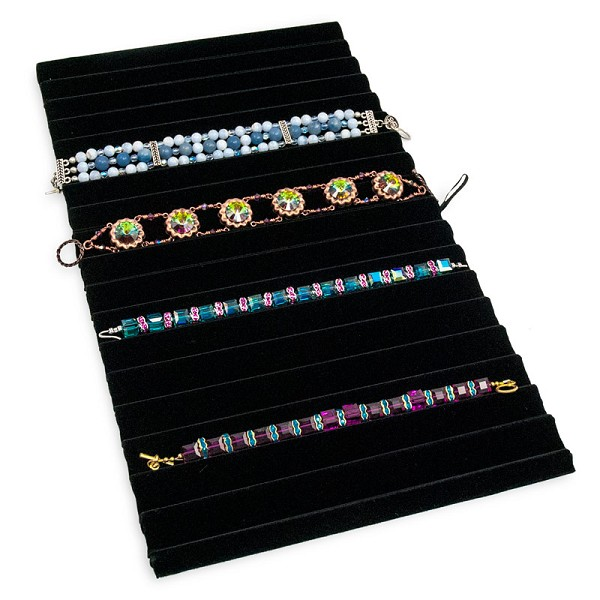 Standard Size Black Velvet Ridged Bracelet & Watch Pad