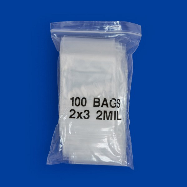 Zip Top 2mil Poly Bags 2x3 (100-Pcs)