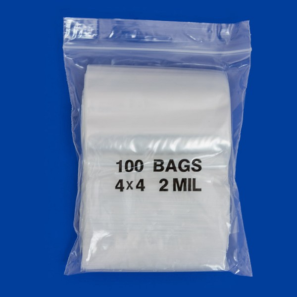 Zip Top 2mil Poly Bags 4x4 (100-Pcs)