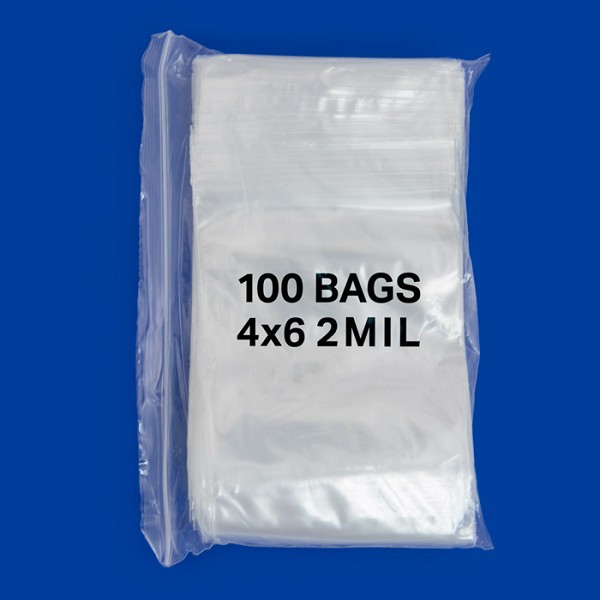 Zip Top 2mil Poly Bags 4x6 (100-Pcs)