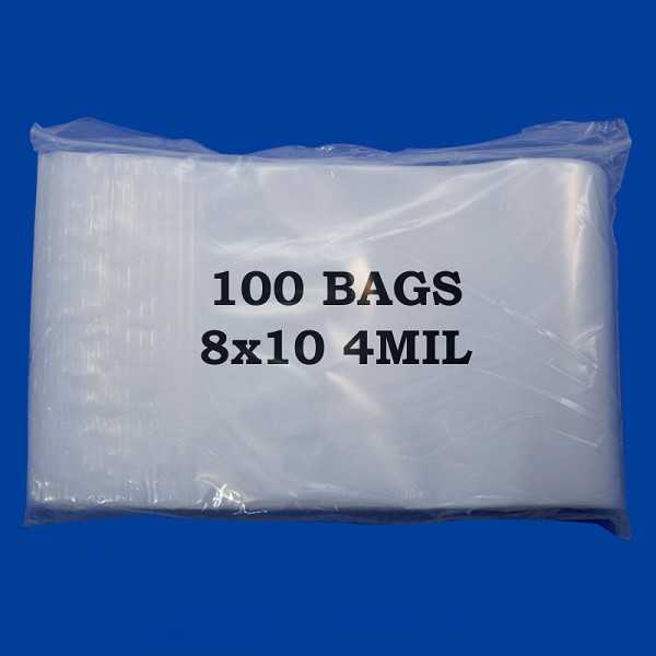 Zip Top 4mil Poly Bags with Hole 8x10 (100-Pcs)