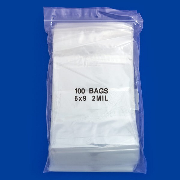 Zip Top 2mil Poly Bags 6x9 W/White Block (100-Pcs)