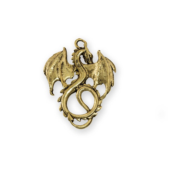 Dragon Pendant 36x28mm Pewter Antique Gold Plated (1-Pc)