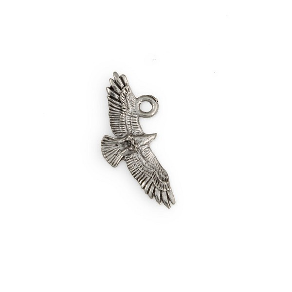 31mm Antique Silver Plated Flying Eagle Pewter Pendant (1-Pc)