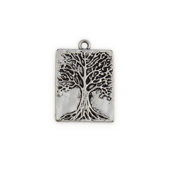 32x22mm Pewter Tree of Life Rectangle Pendant (1-Pc)