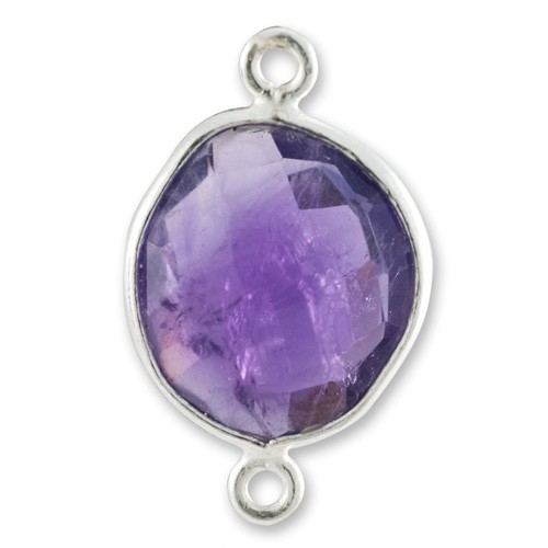 Free Form Faceted Amethyst Connector Sterling Silver 20mm (1-Pc)