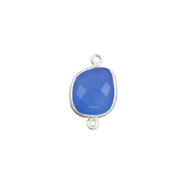 Free Form Faceted Blue Onyx Connector Sterling Silver 20mm (1-Pc)