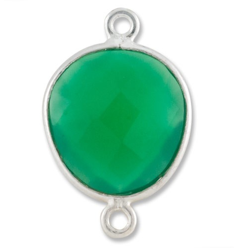 Free Form Faceted Green Onyx Connector Sterling Silver 20mm (1-Pc)