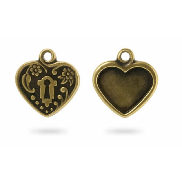 TierraCast Victorian Heart Picture Frame 19mm Pewter Antique Brass Plated (1-Pc)