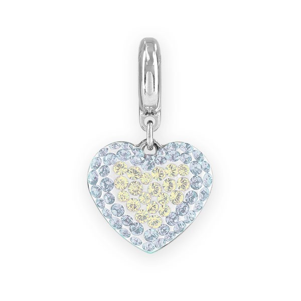 Swarovski Pavé Heart Charm 14mm Crystal Moonlight, White Opal (1-Pc)