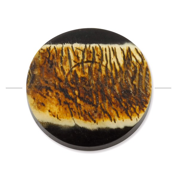 Horn Bead Distressed Flat Circle 28mm (1-Pc)