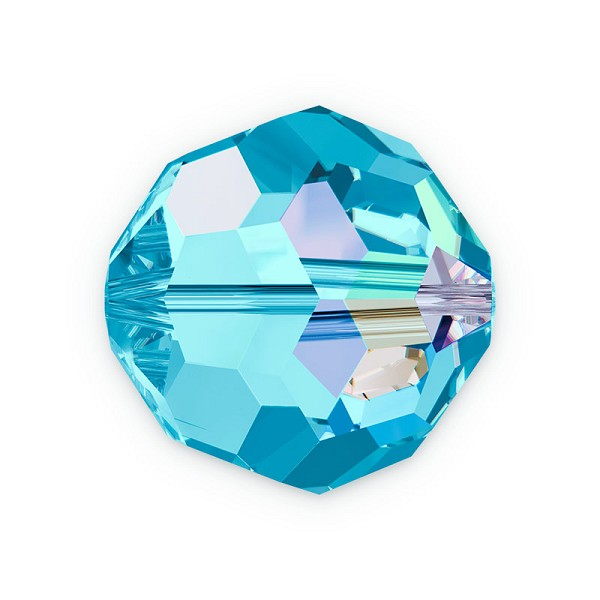 Swarovski Crystal 5000 4mm Aquamarine AB Round Bead (6-Pcs)