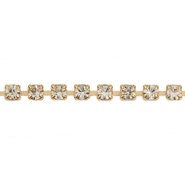 Crystal Rhinestone Gold Plated Cup Chain 2mm Priced Per Foot Cup