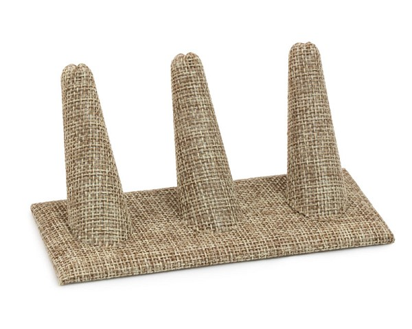 Three Finger Burlap Ring Display