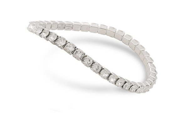 Swarovski Crystal Rhodium Plated Catch Free 4mm Stretch Bracelet (1-Pc)
