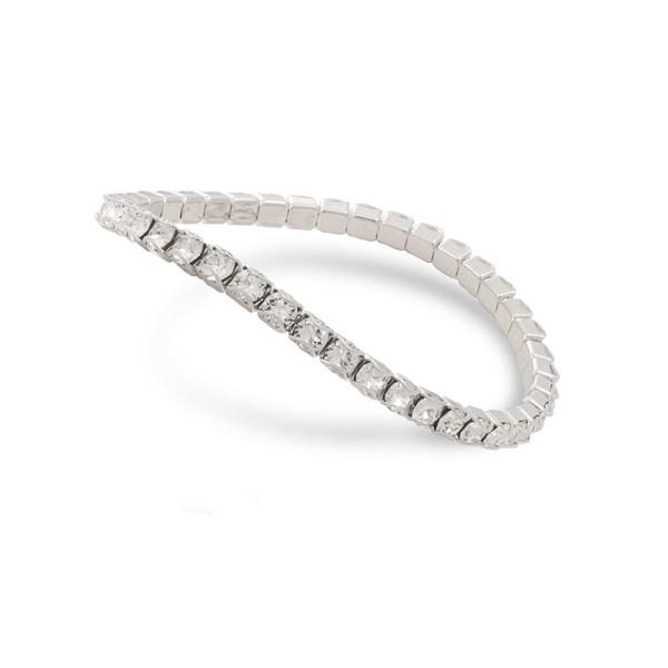 1534d471eab5 Swarovski Crystal Rhodium Plated Catch Free 4mm Stretch Bracelet ...