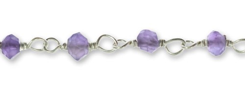 Amethyst Faceted 3mm Beaded Chain Sterling Silver (Priced Per Inch)