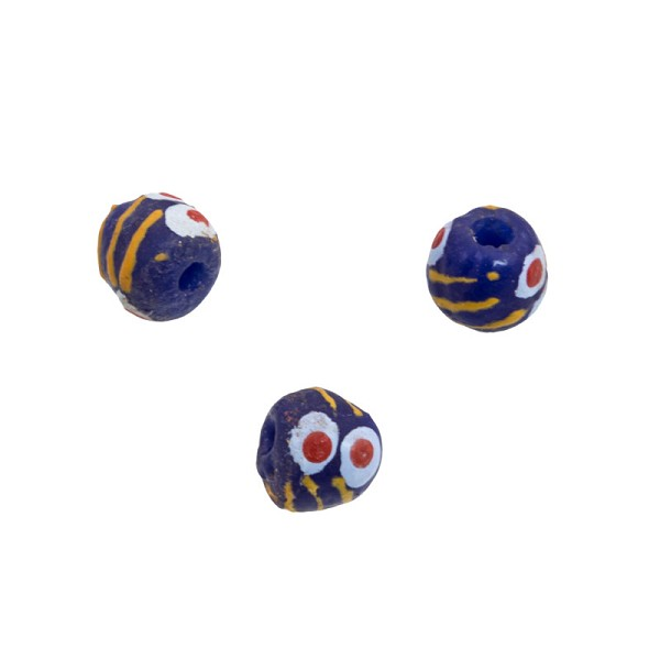 11mm Cobalt Blue Orange Ghana Hand-Painted Sandcast Bead (3-Pcs)