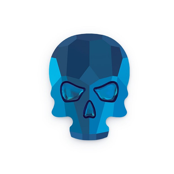 Swarovski 2856 Skull Flat Back 10x7.5mm Crystal Metallic Blue (1-Pc)
