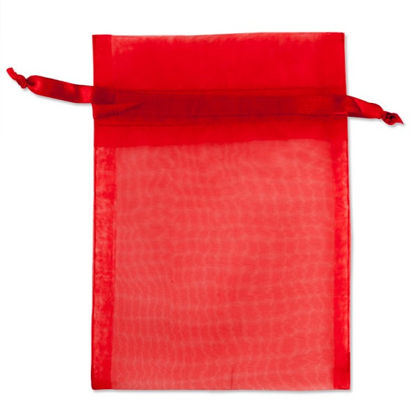 Organza Drawstring Bags 4x5 Red (10-Pcs)