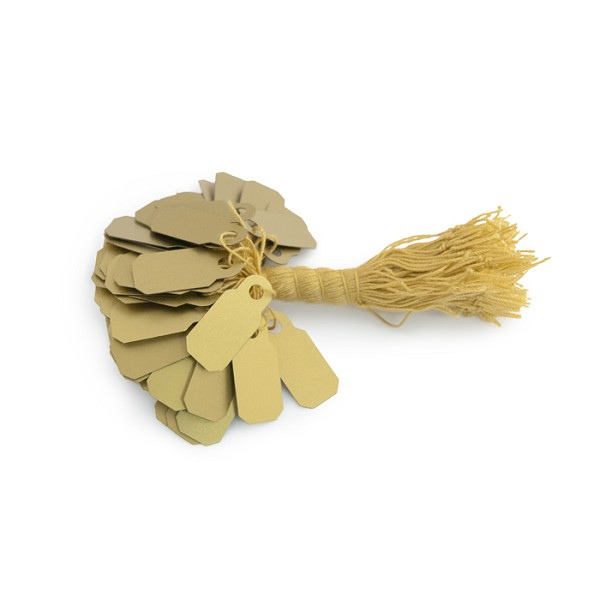 22mm Gold Plastic String Tags (100-Pcs)