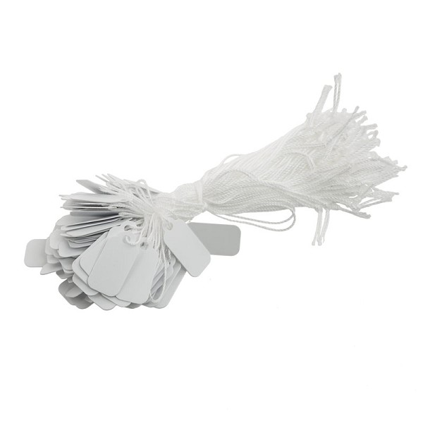 16mm White Plastic String Tags (100-Pcs)