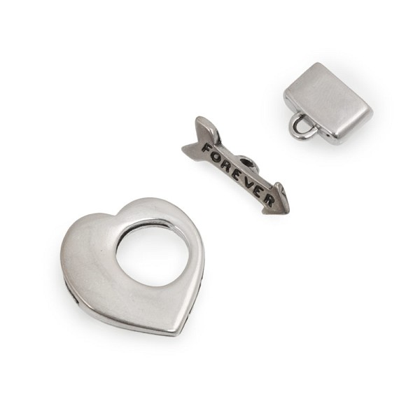 10mm Antique Silver Flat Heart Toggle Clasp (Set)