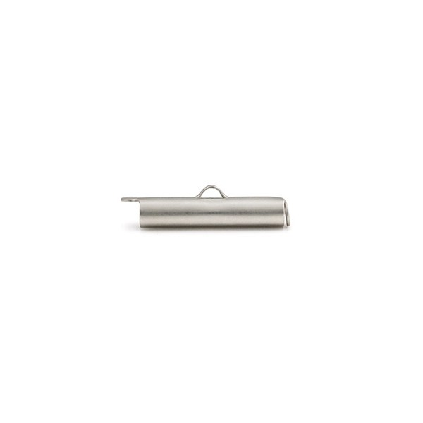 Slide Connector Tube Satin Rhodium Plated 16x4mm (1-Pc)