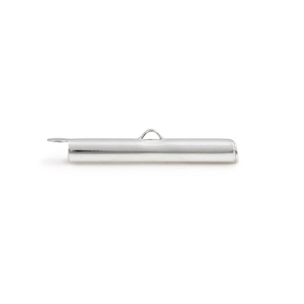 Slide Connector Tube Silver Plated 30x4mm (1-Pc)