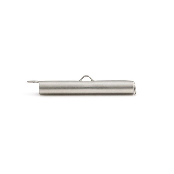 Slide Connector Tube Satin Rhodium Plated 30x4mm (1-Pc)