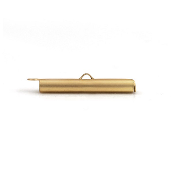 Slide Connector Tube Satin Gold Plated 30x4mm (1-Pc)