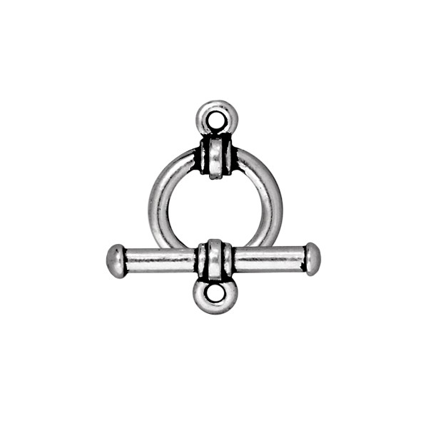 TierraCast 12mm Antique Silver Pewter Round Toggle Clasp (Set)