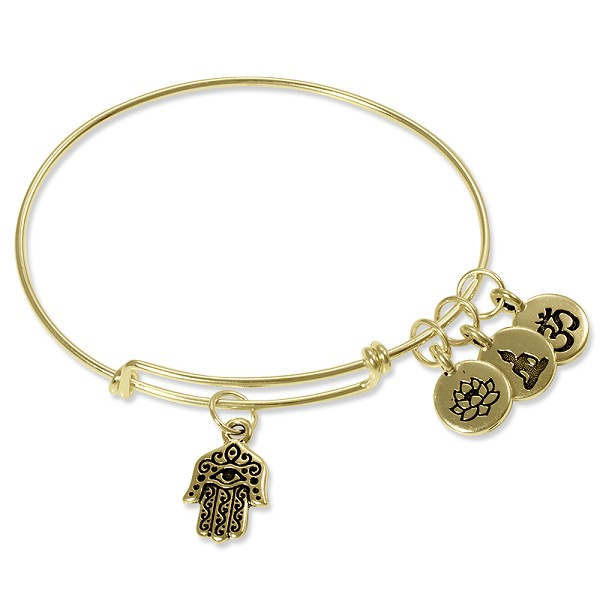 Adjustable Charm Bangle Bracelet Gold Filled