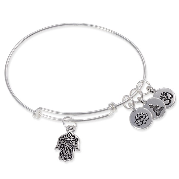 Adjustable Charm Bangle Bracelet Sterling Silver