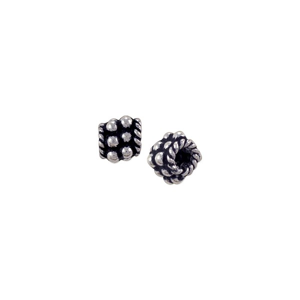 Bali Style Stacked Flower Bead 5mm Sterling Silver (1-Pc)