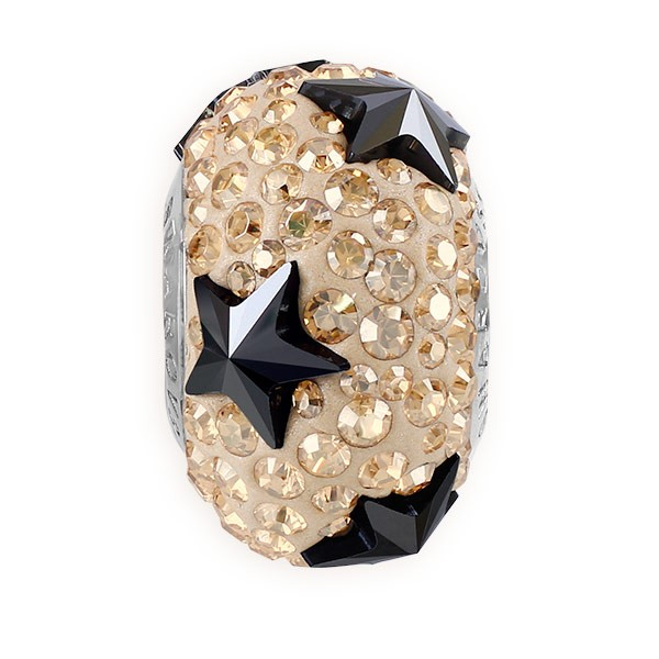 Swarovski Crystal BeCharmed Pave Star Bead 81712 15mm Jet Hematite (1-Pc)