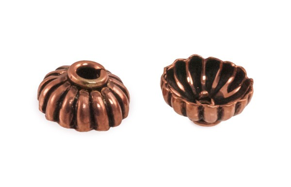 8.5x4mm Designer Copper Bead Cap (2-Pcs)