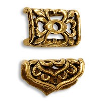 14x10mm Antique Gold Plated Pewter Rectangle End Cap (1-Pc)