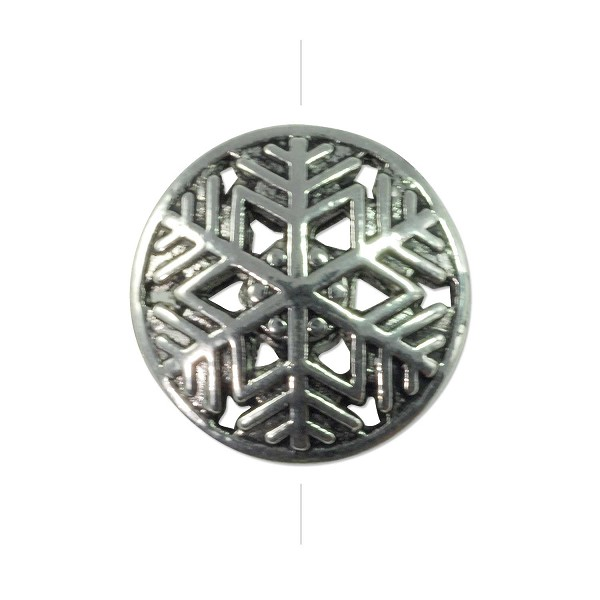 Snowflake Filigree Puffed Coin 17mm Pewter Antique Silver Plated (1-Pc)